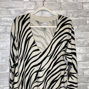 Chico's Zebra Print Silk Blend Tunic Size Large